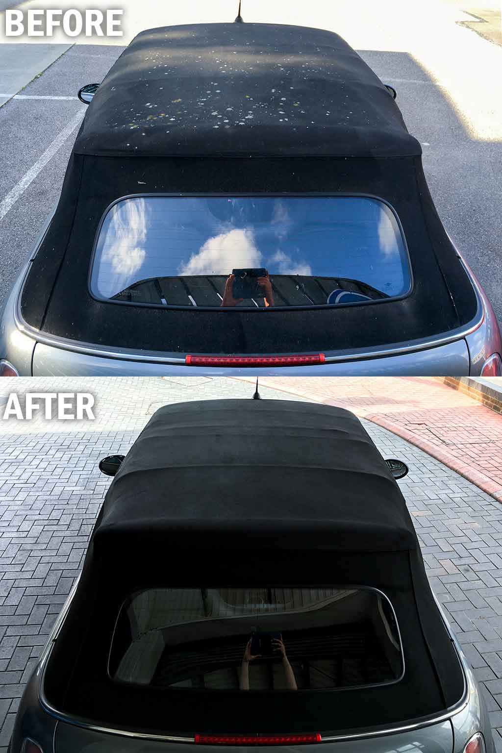 Convertible roof restoration before and after